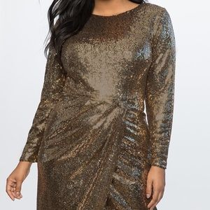 Gold Sequin Maxi Dress with wrap skirt